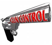 A pistol firearm with the words Gun Control as a plea to stop violence from shooting guns and hurtin