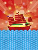 Chinese Junk Sail Boat On Background Illustration