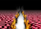 picture of trailblazer  - New thinking trailblazer as a business success symbol of a leader that blazes a new trail or path through a confusing maze or labyrinth by burning the obstacles with symbolic fire revealing a clear answer to a problem - JPG