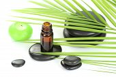 stock photo of essential oil  - bottle of essential oil pebbles and green leaves