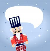 Cartoon Christmas Nutcracker With Blank Speech Bubble