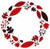 Christmas Retro Holiday Wreath Isolated On White