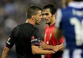 BARCELONA - NOV,10: Alejandro Arribas discussed with the referee Gil Manzano during the a League mat