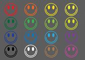 foto of sweet sixteen  - A set of sixteen colorful emoticons on a gray background - JPG