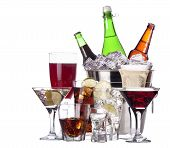 pic of champagne color  - different images of alcohol set isolated  - JPG