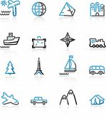 Blue And Grey Contour Travel Web Icons poster