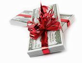 picture of money prize  - Pack of the American money as a gift on white background