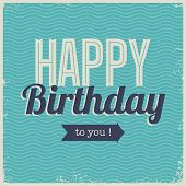 Vintage retro happy birthday card font