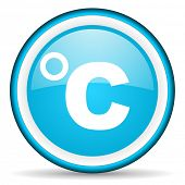 celsius blue glossy icon on white background