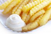 Delicious Crinkly French Fries With Mayo
