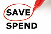 Save Or Spend With Red Marker