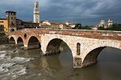 View To The Adige River In Verona