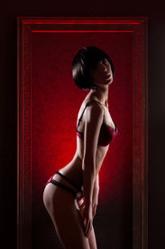 stock photo of matron  - Young sexy woman in erotic lingerie standing in the frame over the red background - JPG