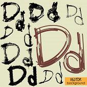 art sketch set of vector character fonts symbols, sign D