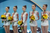 KIEV, UKRAINE - SEPTEMBER 1: Team Ukraine win bronze in the routing with clubs during the 32nd Rhyth