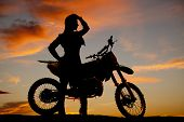Silhouette Woman By Dirt Bike Hand Head