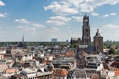 Aerial Cityscape Of Medieval City Utrecht, Fourth City Of The Netherlands