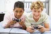 stock photo of video game  - Teenage Boys Playing Video Games - JPG