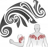 Maori styled tattoo pattern in a shape of chameleon. Good for a shoulder or an upper back. Editable