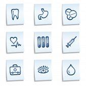 Medicine web icons set 1, blue notes