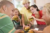 Teenagers Eating Burgers