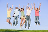 picture of 16 year old  - Portrait Of A Group Of Teenagers Jumping - JPG