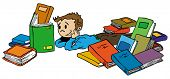 cartoon illustration of a little kid reading a book