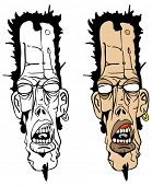 cartoon illustration of long zombie head, colored and black and white