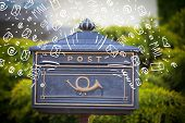 picture of postbox  - Postbox with white hand drawn mail icons - JPG