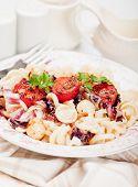 Italian pasta with chery tomato, parsley and radicchio