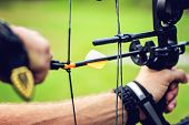 stock photo of archer  - Close up picture of an archer with a bow - JPG