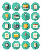 stock photo of internet-banking  - Vector set of colorful icons in modern flat design style with long shadow effect on financial and business theme - JPG