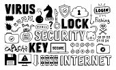picture of shield-bug  - Hand drawn vector illustration set of internet and network security doodle elements - JPG