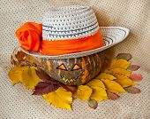 Pumpkin For Halloween In A Hat