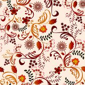 seamless floral pattern in shades of brown