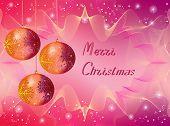 Three Christmas Orange And Purple Ball