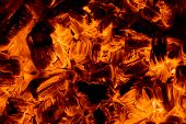 stock photo of ember  - Burning embers in a dark close - JPG
