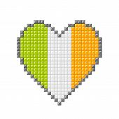 Pixel Block Irish Love Heart