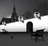 Illustrated black and white vector abstract silhouette of old street with a church, benches, trees,