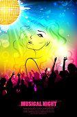 illustration of stylish woman on DJ musical background