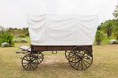 picture of covered wagon  - Covered wagon with white top in park - JPG