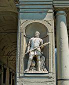 Statue Of Giovanni Dalle Bande Nere (giovanni De Medici) In Galeria Degli Uffizi. Florence, Italy