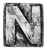 Metal alloy alphabet letter N