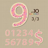 3-3 Set Of Doughnut Vector Numbers 0-9 Editable