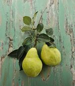 Fresh Yellow Pears On Wooden Rusty Surface