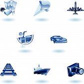 Azul viagens e turismo Icon Set