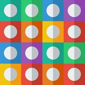 White circles on colorful squares in flat icon style.