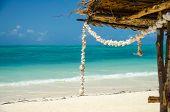 Wreath Of Tropical White Shells In A Sand Beach