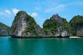Mountain Island And Lonely Beach In Halong Bay
