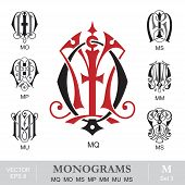 stock photo of monogram  - Vintage monogram set - JPG